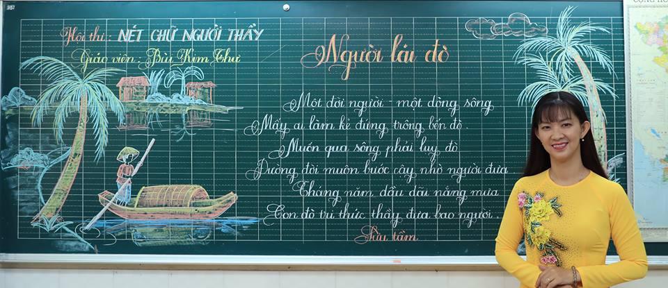 """bai thi viet bang dep 10 - Bài thi viết bảng đẹp - hội thi """"Nét chữ người thầy"""" TH Lương Định Của"""