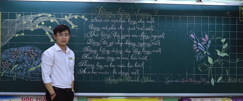 """bai thi viet bang dep 12 - Bài thi viết bảng đẹp - hội thi """"Nét chữ người thầy"""" TH Lương Định Của"""