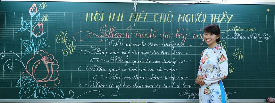 """bai thi viet bang dep 17 - Bài thi viết bảng đẹp - hội thi """"Nét chữ người thầy"""" TH Lương Định Của"""