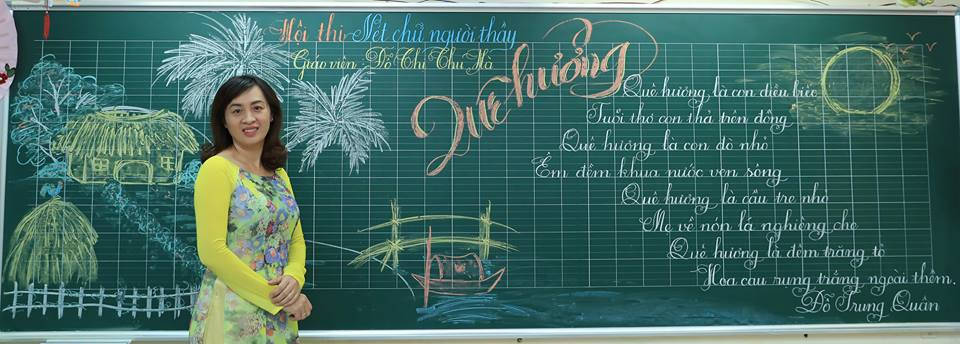 """bai thi viet bang dep 22 - Bài thi viết bảng đẹp - hội thi """"Nét chữ người thầy"""" TH Lương Định Của"""