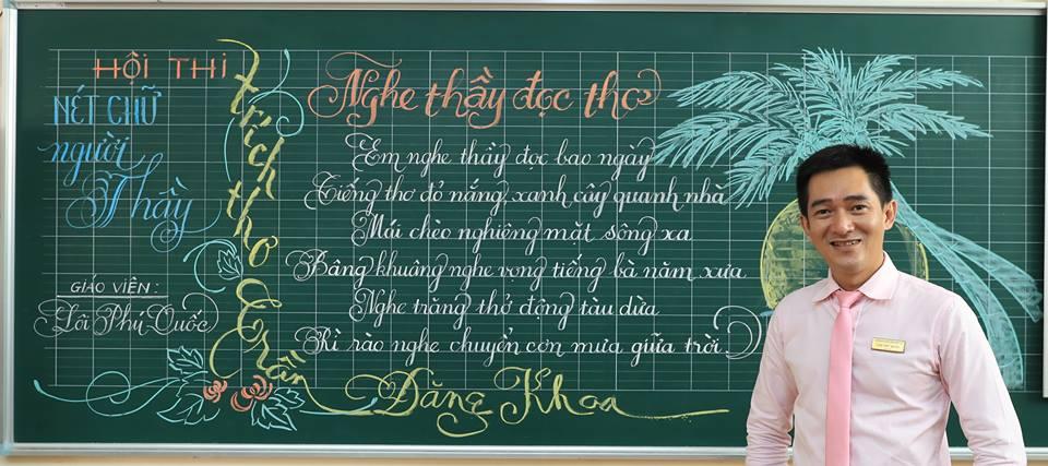 """bai thi viet bang dep 26 - Bài thi viết bảng đẹp - hội thi """"Nét chữ người thầy"""" TH Lương Định Của"""