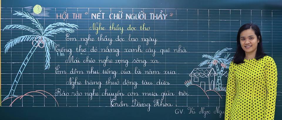 """bai thi viet bang dep 27 - Bài thi viết bảng đẹp - hội thi """"Nét chữ người thầy"""" TH Lương Định Của"""