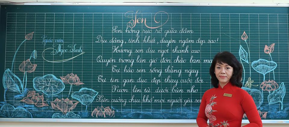 """bai thi viet bang dep 30 - Bài thi viết bảng đẹp - hội thi """"Nét chữ người thầy"""" TH Lương Định Của"""