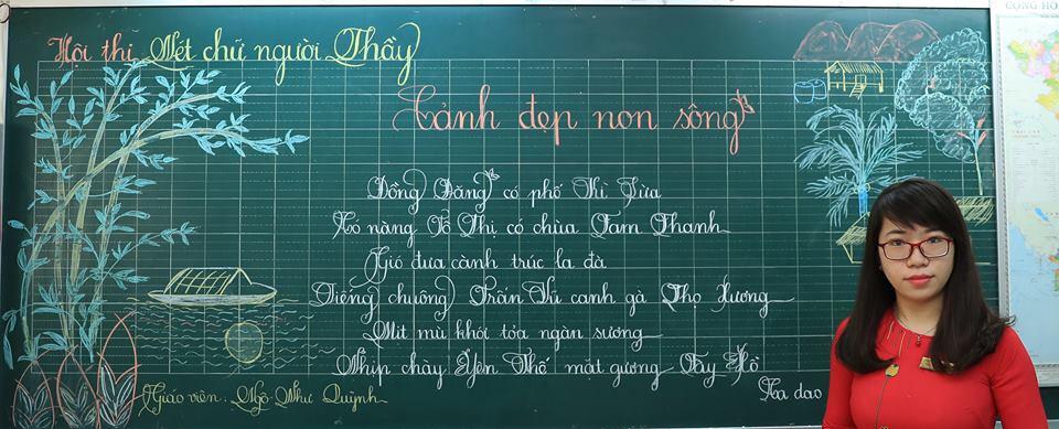"""bai thi viet bang dep 31 - Bài thi viết bảng đẹp - hội thi """"Nét chữ người thầy"""" TH Lương Định Của"""