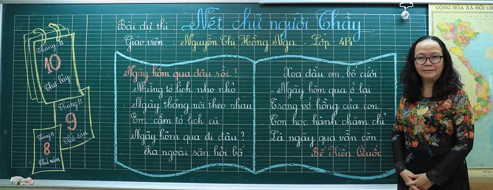 """bai thi viet bang dep 33 - Bài thi viết bảng đẹp - hội thi """"Nét chữ người thầy"""" TH Lương Định Của"""