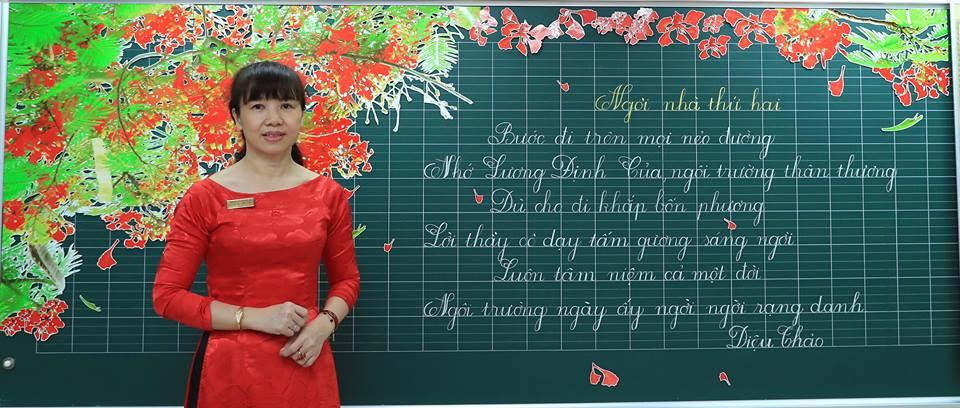 """bai thi viet bang dep 34 - Bài thi viết bảng đẹp - hội thi """"Nét chữ người thầy"""" TH Lương Định Của"""