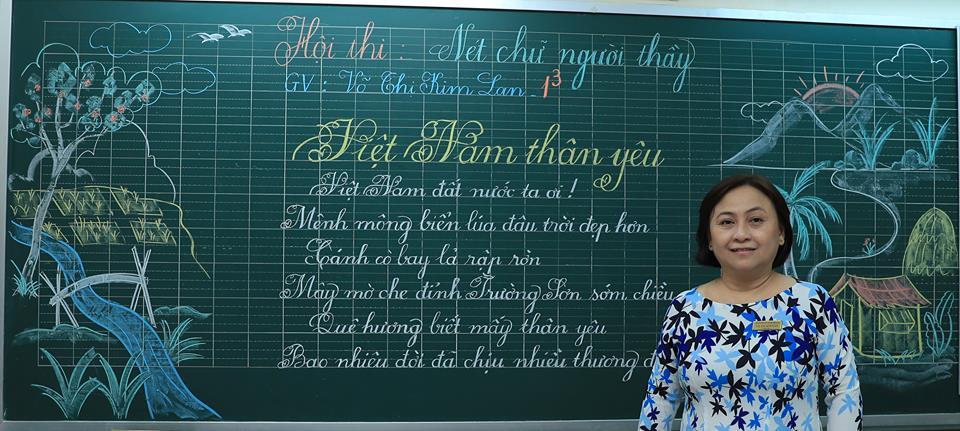 """bai thi viet bang dep 8 - Bài thi viết bảng đẹp - hội thi """"Nét chữ người thầy"""" TH Lương Định Của"""