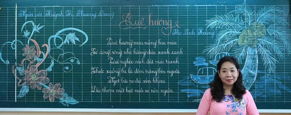 """bai thi viet bang dep 9 - Bài thi viết bảng đẹp - hội thi """"Nét chữ người thầy"""" TH Lương Định Của"""